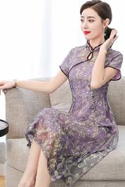 旗袍改良版连衣裙女夏2020年新款中国风贵夫人阔太太复古高贵气质