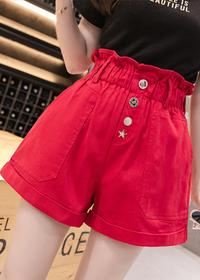 实拍新款韩版宽松高腰显瘦a字阔腿热裤子牛仔红色短裤女外穿夏季