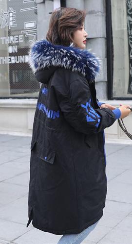 实拍2018新款欧洲站宽松大码羽绒棉服中长款大毛领宽松棉服外套女