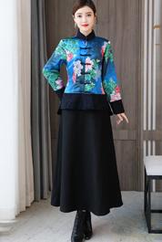 实拍香云纱对襟短外套中式复古风真丝羊羔毛领秋冬棉衣棉服女
