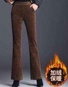 实拍灯芯绒裤子女秋冬2020新款垂感微喇叭裤高腰条绒裤女休闲长裤