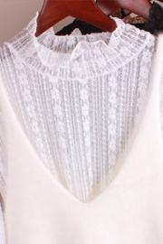 蕾丝打底衫女半高领长袖网纱内搭蕾丝衫很仙气质洋气上衣小衫秋冬