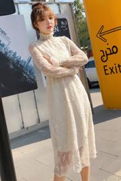 春秋新款韩版立领木耳边白色蕾丝裙女高腰打底连衣裙女仙女裙