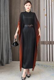 实拍2021夏季新款真丝香云纱拼接纱日常礼服裙桑蚕丝长裙配腰封
