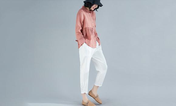 8953#实拍现货2020春夏新款棉麻大码格子衬衫女 限价46