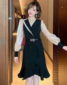MIUCO法式撞色拼接燈籠袖腰帶收腰大方氣質連衣裙女裝2020早秋新