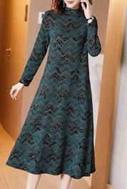 半高领连衣裙高端女装2020早春新款气质提花过膝长款裙子打底