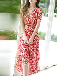 夏季短袖桔梗碎花连衣裙女2021新款名媛高腰显瘦开叉中长荷叶边裙