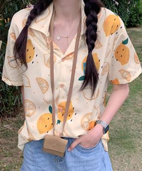 1360#官图 100聚酯纤维 2021夏季新款趣味柠檬图案宽松短袖衬衫女