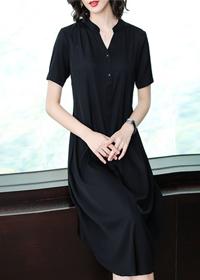 2019真丝连衣裙韩版大牌纯色高贵遮肚阔太太短袖桑蚕丝气质裙子夏