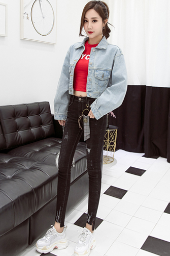 实拍2018年新款网红同款阿希哥牛仔小外套女短款经典浅色宽松8808