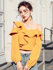 实拍2020秋季法式衬衣新款女不规则吊带露肩长袖短款荷叶边小上衣