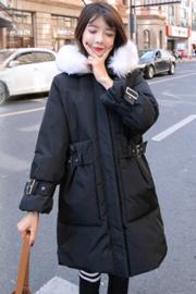 实拍冬季新款羽绒服 韩版大口袋大毛领中长款加厚时尚女棉服