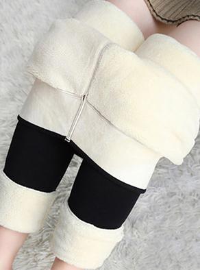 冬季羊羔絨感加絨加厚保暖打底褲女棉褲大碼顯瘦高腰一體褲#308