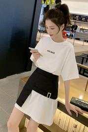 春季2020新款韩版中长款印花不规则短袖T恤连衣裙女腰封两件套裙