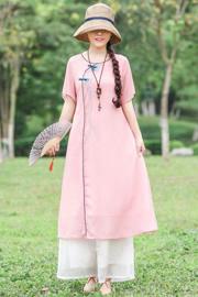 實拍8278#夏季新款天絲麻刺繡中長款中國風大碼寬松連衣裙隸礎甲