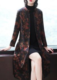 2019秋冬新款妈妈装时尚立领显瘦花色气质单排扣风衣女长款