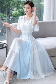蓝白拼接国风连衣裙2019夏新款女装改良汉服修身仙气长裙