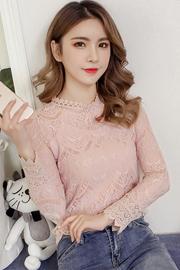 加绒蕾丝衫长袖女2018新款时尚chic韩版秋冬网纱上衣洋气小衫