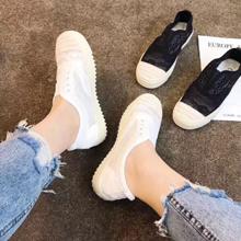 2019夏季透气镂空一脚蹬孕妇鞋蕾丝渔夫鞋女平底小白鞋女懒人鞋潮