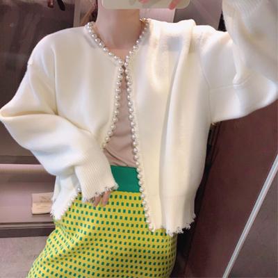 2021新款毛衣外套女郝本风设计感小众手工珍珠毛边短款针织衫
