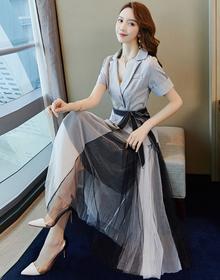 两件套洋气减龄套装女夏装2020新款气质女神范时尚职业西装连衣裙