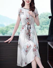 重磅真絲連衣裙2020夏新款寬松中長款杭州絲綢氣質綢緞桑蠶絲裙子