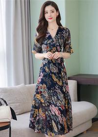 9581# 长裙女夏连衣裙气质印花雪纺修身显瘦2019新款长裙子
