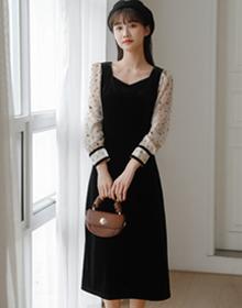 实拍法式轻奢名媛长裙子气质高贵洋气显瘦黑色金丝绒连衣裙女秋冬