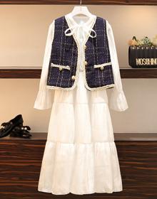 实拍大码女早春胖妹妹秋装新款小香风马甲宽松娃娃裙连衣裙两件套
