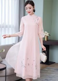 法式复古裙过膝很仙裙子茶服茶人服中国风旗袍式很仙的连衣裙长裙