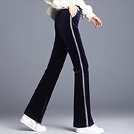 实拍2020秋冬新款加绒金丝绒喇叭裤女长裤微喇显瘦垂坠裤子直筒裤