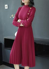 实拍 2018秋冬新款红色中长款长袖百褶大摆裙子修身显瘦连衣裙女