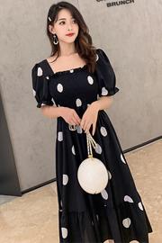 mimius2019夏装新款气质显瘦方领泡泡袖高腰雪纺裙a字波点连衣裙