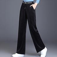 实拍2020秋季新款灯芯绒微喇阔腿裤女高腰宽松条绒坠感直筒裤长裤