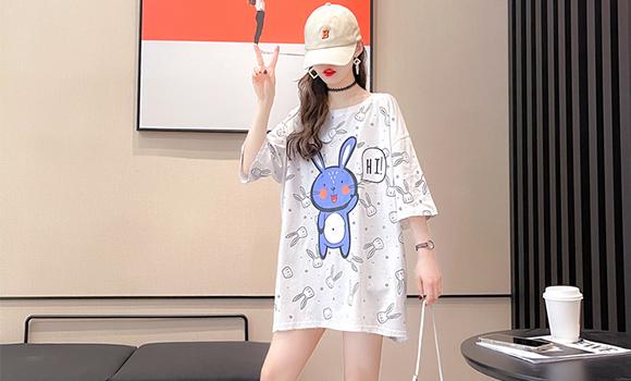 实拍~6535棉~短袖T恤女撞色拼接夏季韩版宽松大码中长款大版上衣