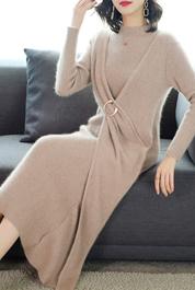 秋冬中长款法式设计感小众气质收腰显瘦毛衣针织内搭打底连衣裙女