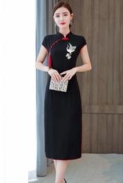 实拍2020新式中国风刺绣黑色中长款改良旗袍连衣裙夏