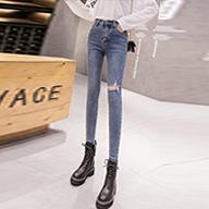【實拍】牛仔褲女褲春秋季新款2019修身直筒顯瘦黑色小腳高腰緊身