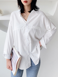 5838 模特+实拍 已质检 定价不低于59元 chic韩版衬衣纯色衬衫女