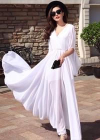 2019女新款夏气质韩版显瘦雪纺超长款红色沙滩裙子长裙连衣裙飘逸