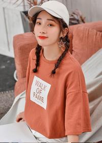 314#实拍短袖t恤女2019夏装新款韩版宽松圆领套头字母印花上衣女