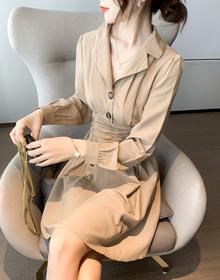 实拍~2020秋装新款纯色法式复古裙子长袖连衣裙~大时代217拿货