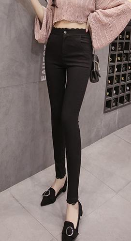 打底裤女秋冬高腰弹力蕾丝拼接加绒加厚外穿高腰保暖显瘦小脚棉裤