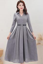实拍3282#棉麻连衣裙2021秋季新款轻熟风长袖时尚流行气质裙子