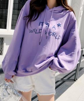 (6535薄款实拍)ins超火慵懒风浅紫色卫衣女连帽长袖卫衣潮