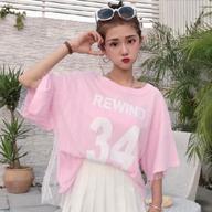 9139【官图】夏季学院风假两件网纱学生宽松短袖T恤女字母半袖上衣