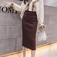 秋冬新款韩版女装高腰针织包芯纱加厚半身裙中长款修身包臀