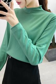 实拍a2006# 2019秋冬宽松外穿洋气针织打底衫半高领长袖T恤毛衣女