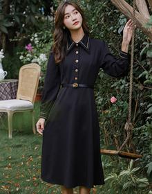 实拍2020秋冬新款复古赫本风小黑裙女中长款长袖修身显瘦连衣裙